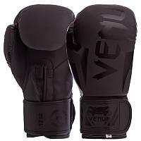 Боксерские перчатки черные VENUM ELITE FLEX на липучке BO-5338, 12 унций