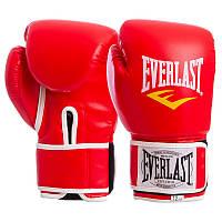 Перчатки боксерские PU на липучке красные EVERLAST BO-3987, 10 унций