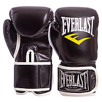 Боксерские перчатки EVERLAST PU на липучке черные BO-3987, 10 унций