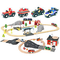Велика дерев'яна залізниця PLAYTIVE Junior XL 120 елементів Німеччина, фото 1