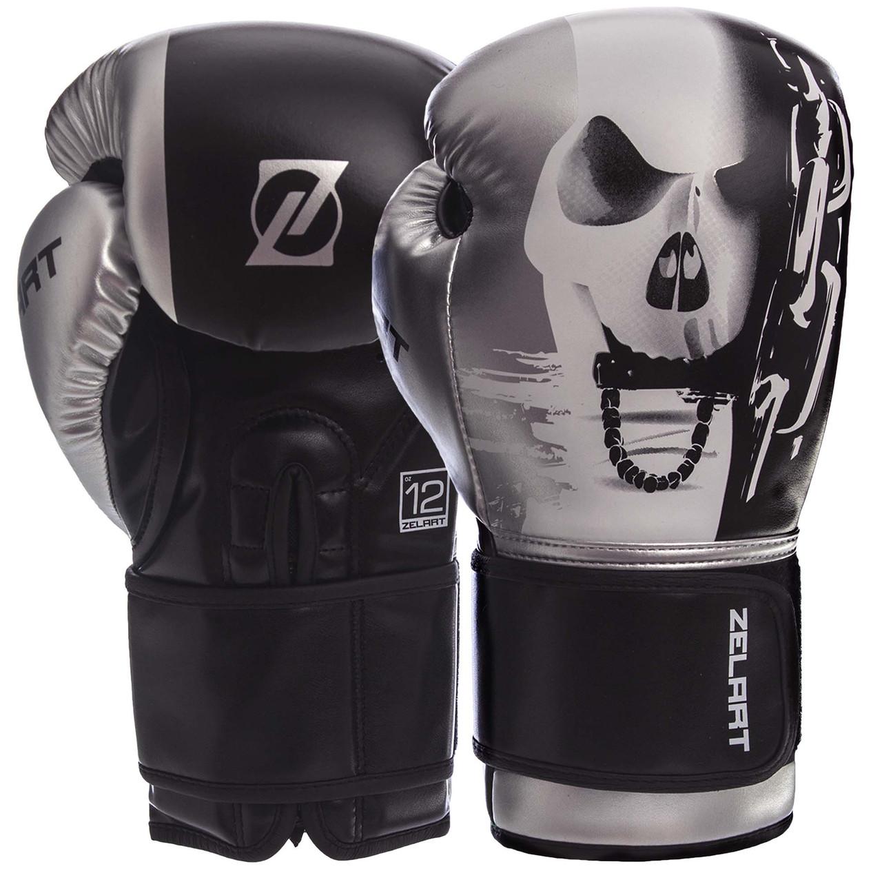 Перчатки боксерские PU на липучке ZELART BO-1315 черно-белые, 14 унций