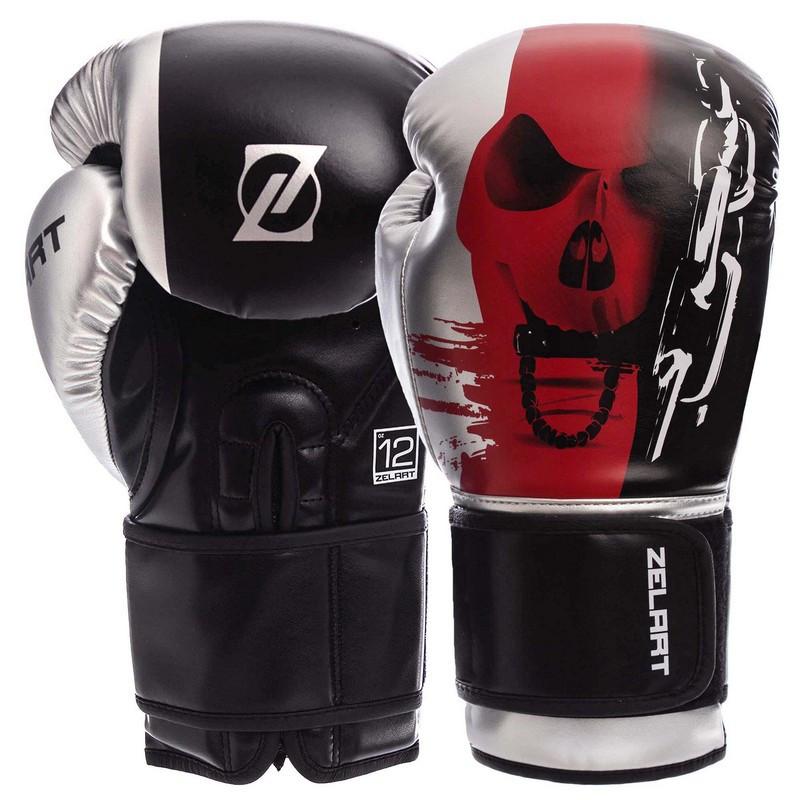 Перчатки ZELART BO-1315 боксерские PU на липучке черно-красные, 12 унций