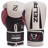 Перчатки боксерские ZELART BO-1323 на липучке PU белые, 14 унций