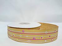 """Метраж лента репсовая на метраж с рисунком 2,5см золотая """"Фантазия"""""""