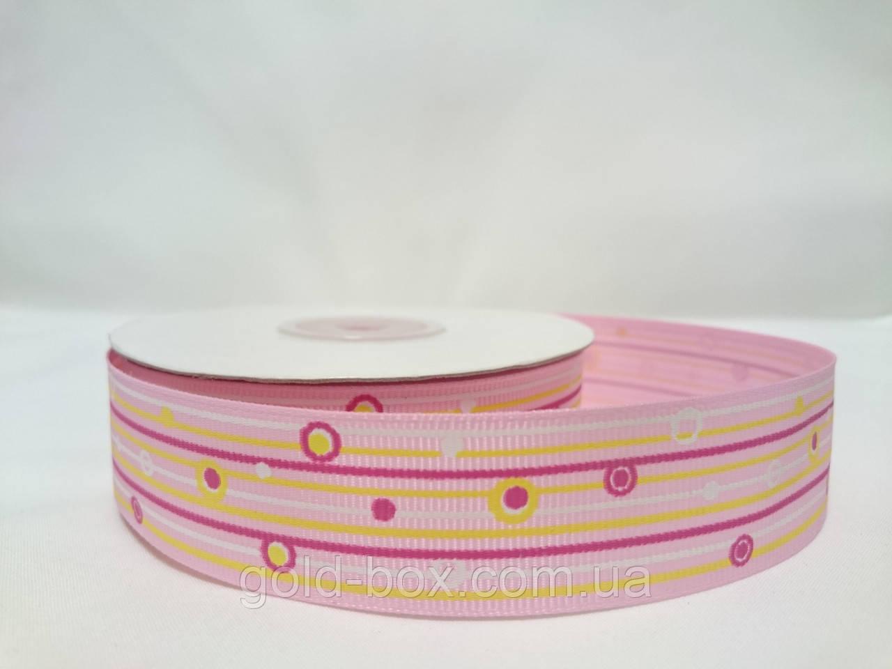 """Репсова стрічка з малюнком 2,5 см світло-рожева """"Фантазія"""""""