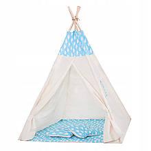 Детская палатка домик (вигвам) Springos Tipi XXL TIP05 White/Sky Blue. Палатка для детей игровая