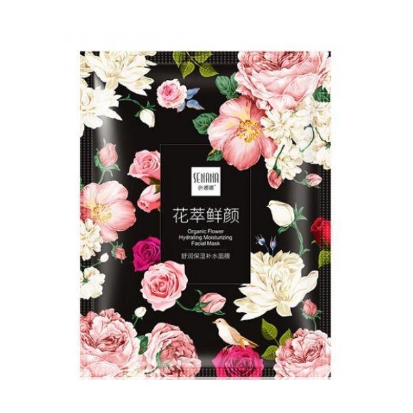 Тканевая маска для лица SENANA Organic Flower Hydrating Moisturizing Facial Mask с экстрактом розы ругоза и