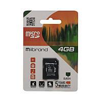 Карта Памяти Mibrand MicroSDHC 4gb 4 Class & Adapter