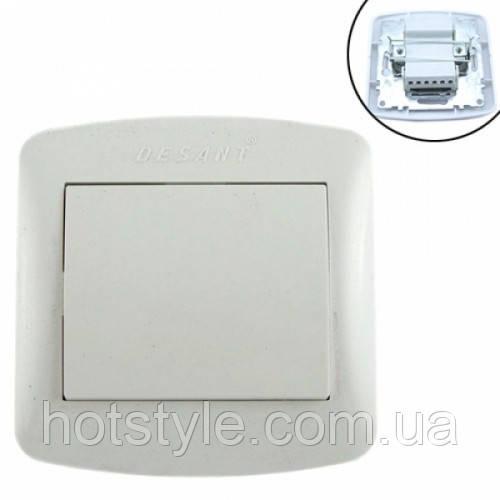 Выключатель света одноклавишный 10А 220В, белый Desant D-301, 101707