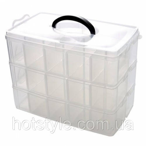 Коробка органайзер кейс для снастей бисера 310х170х235мм 3 уровня 30 ячеек, 105120