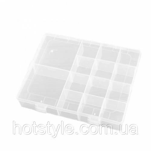 Коробка органайзер кейс для снастей бисера 200х165x37мм 14 ячеек, 105138