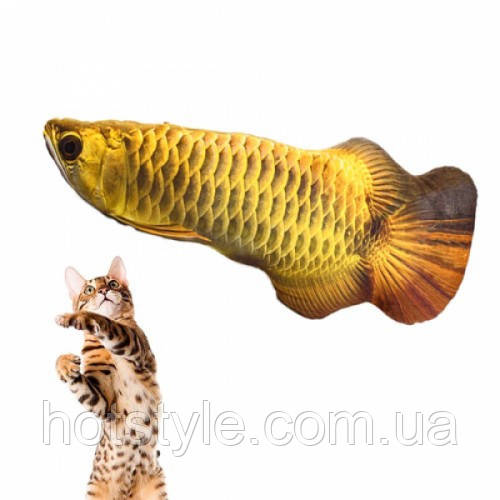 Мягкая игрушка рыба Арована 19см для кошек кота с кошачьей мятой, 105146