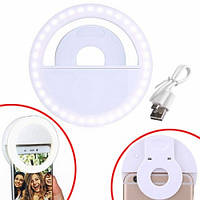 Кольцевая LED лампа для селфи на смартфон клипса, прищепка, c АКБ, 102256