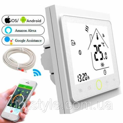 Терморегулятор Wi-Fi для эл теплого пола 220В 16А BHT-002-GBLW, белый, 103989