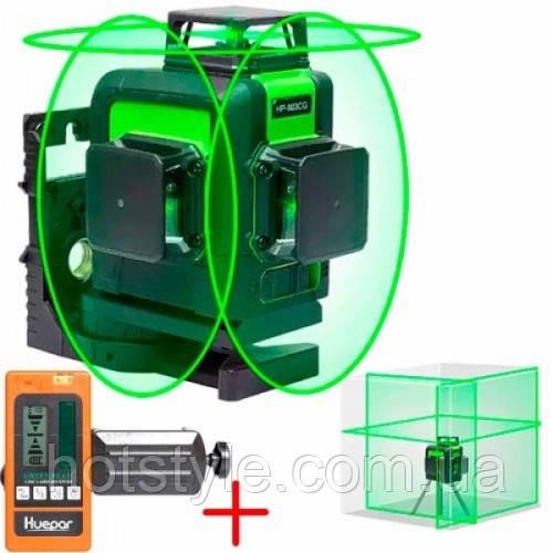 Лазерный уровень, нивелир 12 линий, 360град Huepar 903CG + приемник, 102447