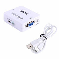 Конвертер VGA - HDMI, видео, аудио, 1080p, белый, 100927