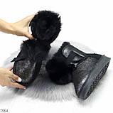 Эффектные черные серебристые угги из натуральной замши с напылением с опушкой, фото 4