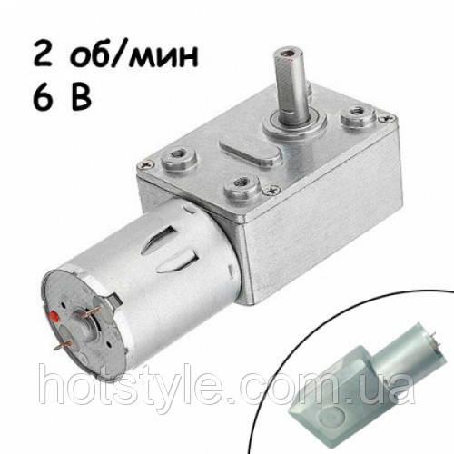 Мотор редуктор червячный JGY-370 2 об/мин 6В, 102671