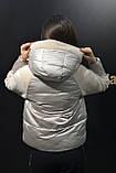 Куртка женская теплая, модная с плюшевыми вставками и капюшоном, фото 5