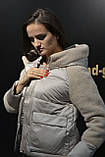 Куртка женская теплая, модная с плюшевыми вставками и капюшоном, фото 3
