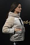 Куртка женская теплая, модная с плюшевыми вставками и капюшоном, фото 2