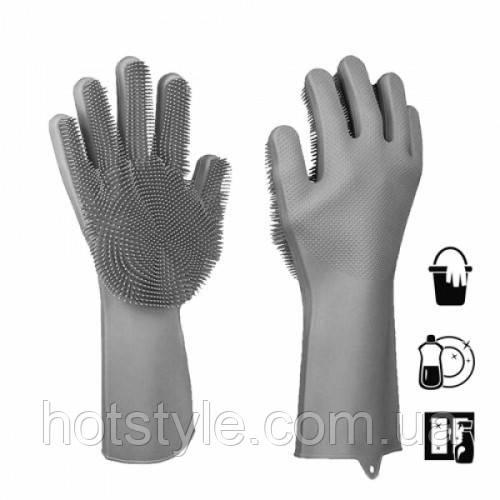 Перчатки с ворсом для кухни ванной термостойкие силиконовые, 104627