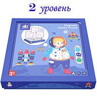 Деревянная игрушка Магнитная Геометрическая мозаика (2 уровень), развивающие товары для детей.