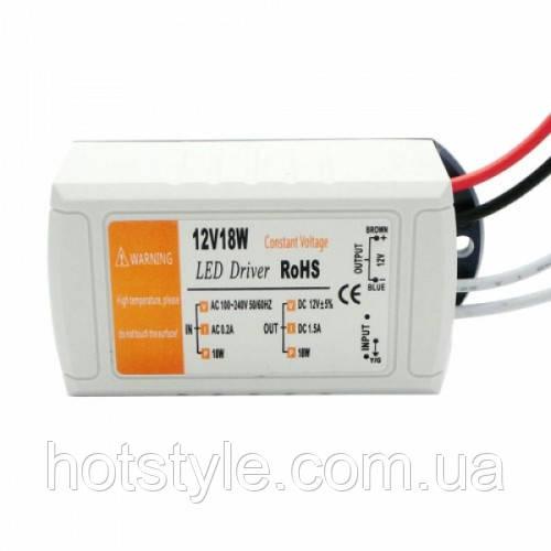 Блок питания LED драйвер трансформатор AC-DC 220-12В 18Вт для LED-лент, 101489
