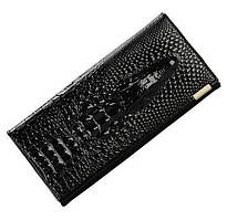 Женский кожаный кошелек клатч ST Крокодил 3D Черный 8.5х18х3 см