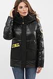 Зимняя куртка женская черная комбинированная 289, фото 2