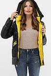Зимняя куртка женская черная комбинированная 289, фото 3