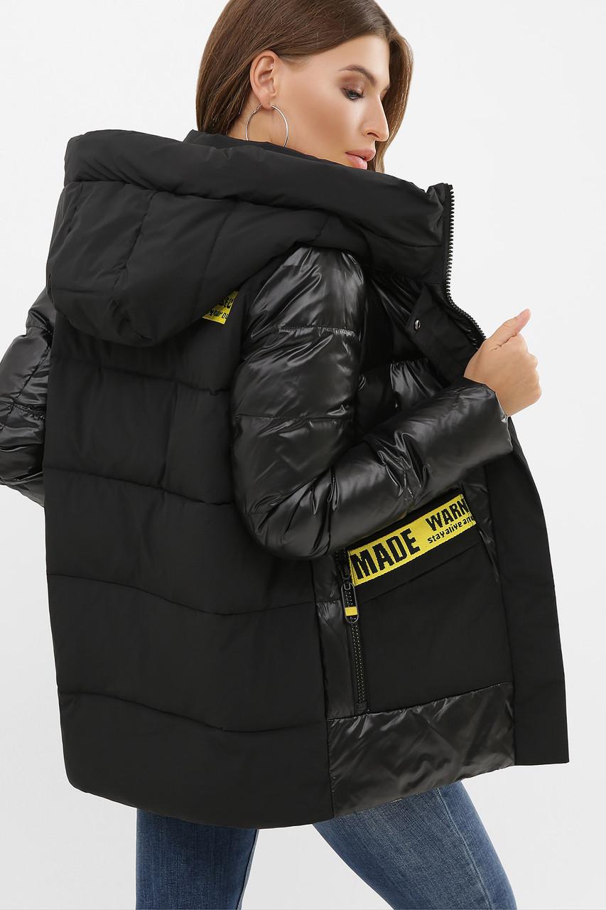 Зимняя куртка женская черная комбинированная 289