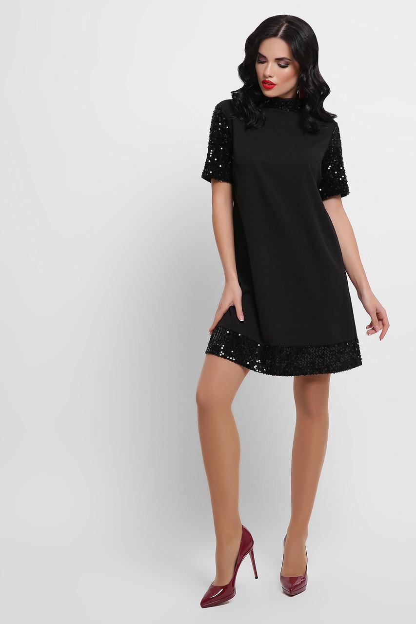 Платье черное с черными пайетками Бетти