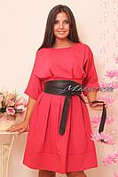 """Женское стильное платье с кожаным поясом """"Кристина"""" т. стрейч-коттон / норма и батал / коралл"""