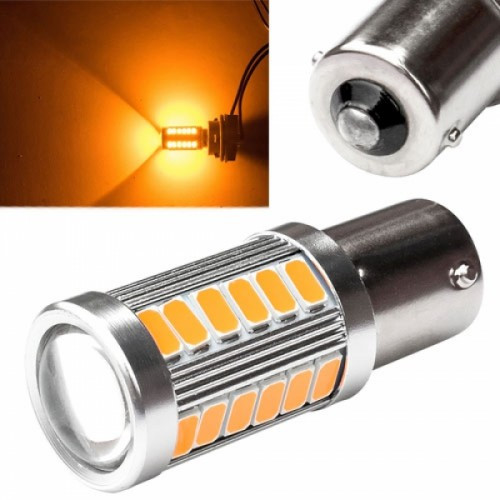 LED 1156 BA15S P21W лампа в автомобиль, 33 SMD 5630, желтый, 100612