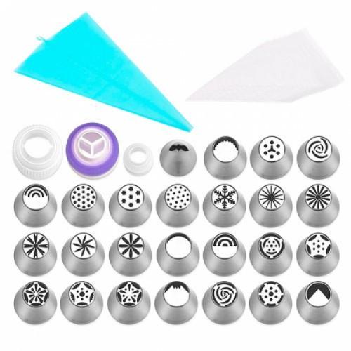 Набор кондитерских насадок 25шт для кремовых цветов + мешки + переходники, 105141
