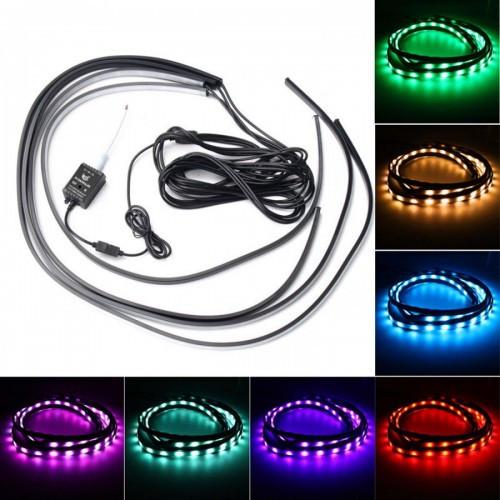 Декоративная RGB LED подсветка днища авто 120х90 с пультом, 105235