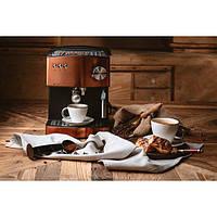 Кофеварка кофемашина для дома кофеварки электрические Adler AD 4404 850W Бронза + пенообразователь