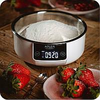 Кухонные весы для кухни кухонные электронные весы с съемной чашей Adler 3166 White + съемная чаша
