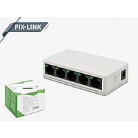 Коммутатор LAN SWITCH Pix-Link LV-SW05 на 5 портов- Новинка, хорошая цена