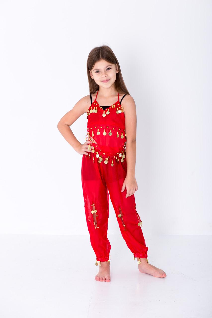 Детский восточный костюм для танцев живота с блестящими монетками красного цвета