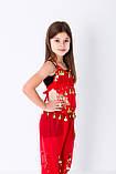 Детский восточный костюм для танцев живота с блестящими монетками красного цвета, фото 3