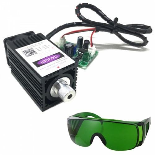 Мощный лазер для резки гравировки 500мВт 405нм TTL + защит. очки, 102677