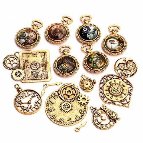 Набор из 15 металлических подвесок шармов шармиков, часы Gold Premium, 102735