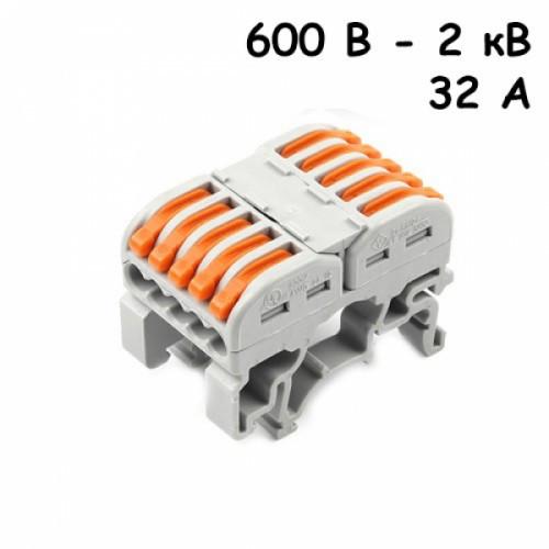 10x Клемма клеммник проходной пружинный 5 пар 600В-2кВ 32А, PCT-2215, 104264