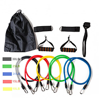 Набор резинок-эспандеров для фитнеса Power Resistance Bands JT-003 5 жгутов + 4 держателя