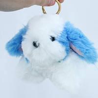 Брелок Собачка Кролик меховой пушистый мягкий на рюкзак сумку, 101576