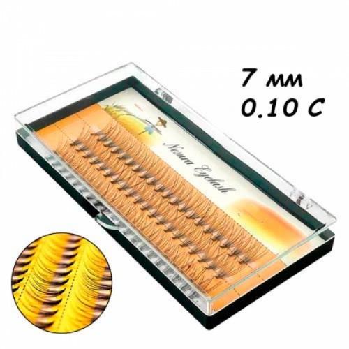 Ресницы пучковые накладные 7мм 0.10 С шелковые черные Nesura, 104680