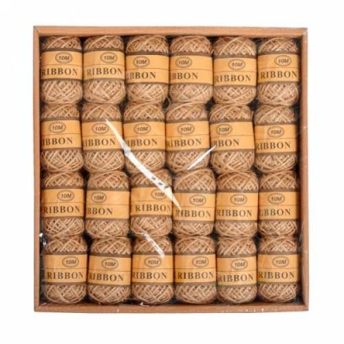 Набор из 24 декоративных джутовых шнуров ниток, бечевка 10м, коричневые, 105040