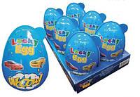 Яйцо пластиковое Lucky egg 80г с игрушкой-сюрпризом и конфетами для мальчика, 6 шт.